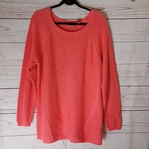 Coral Pink Modern Knit Plus Sweater